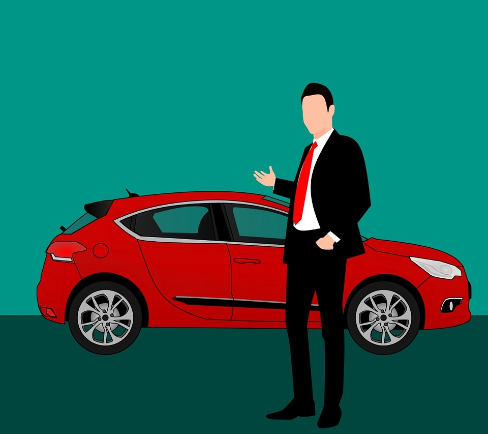 animated car salesman pointing to car