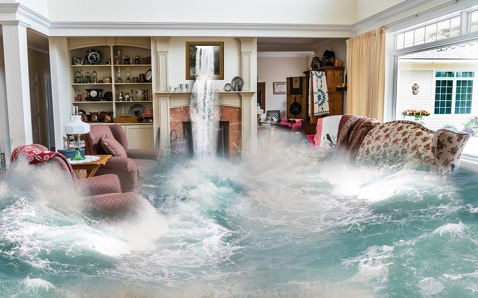living room being flooded