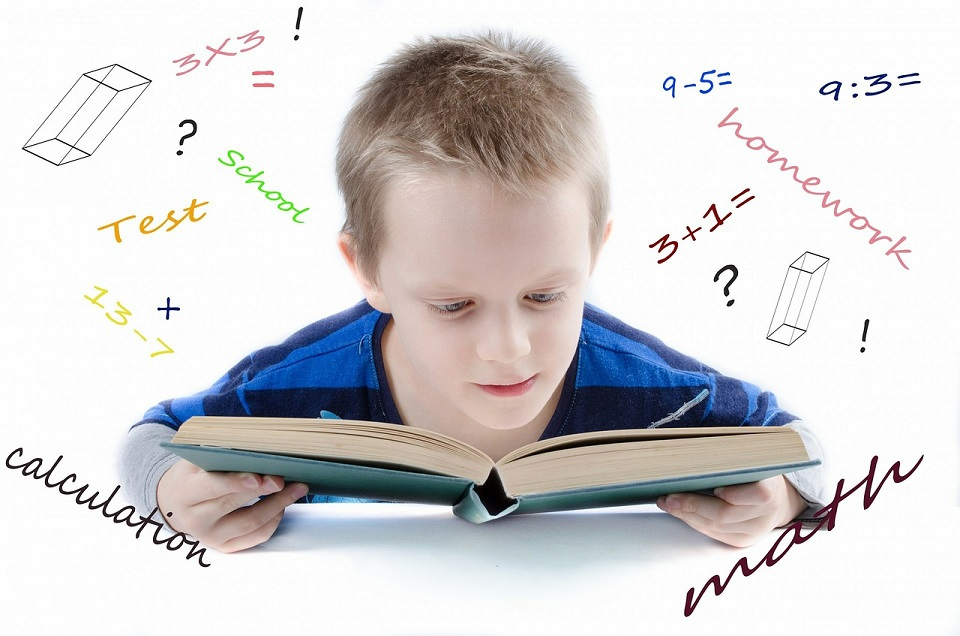 child learning math and reading