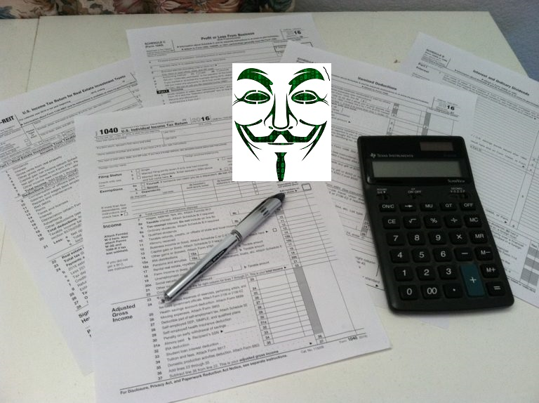 Tax forms, hacker face, pen and hacker face