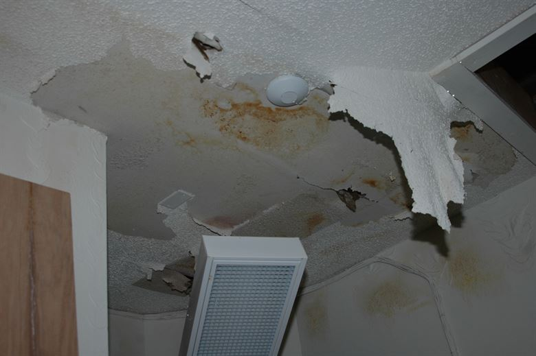 ceiling water damage.