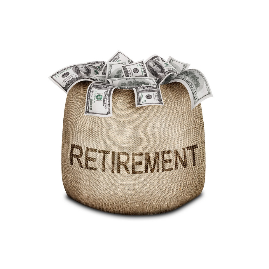 money bag labeled retirement