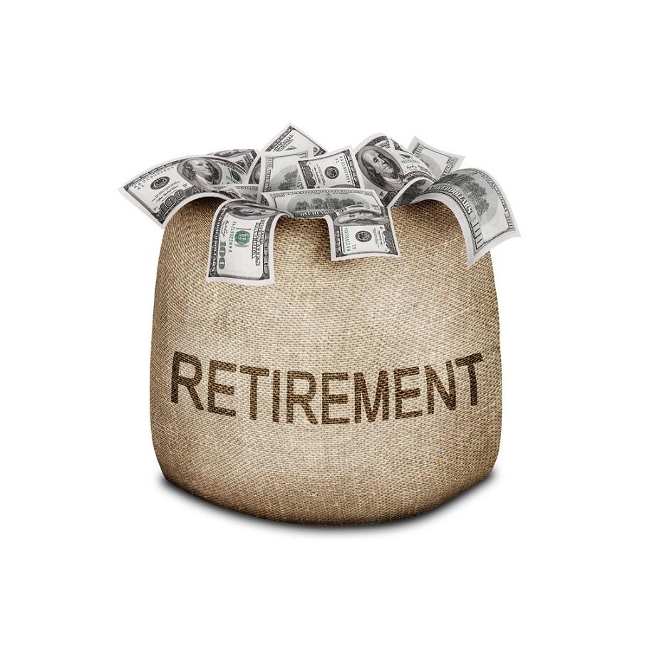 money bag labeled retirement