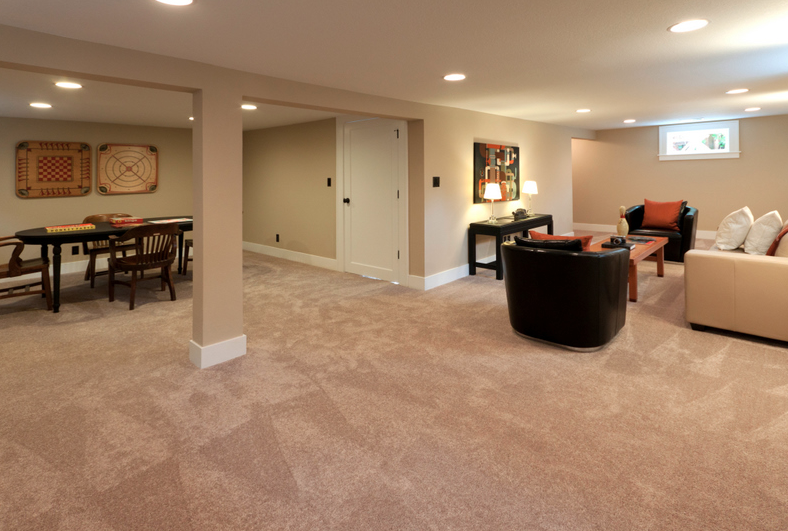 basement with carpeting, living and dining rooms