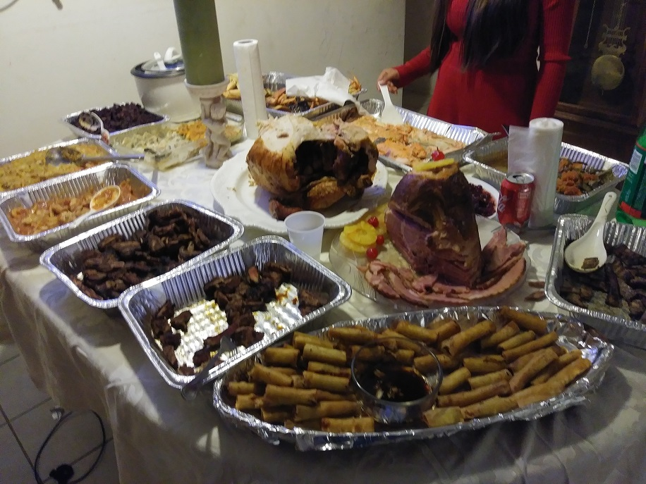 table full of prepared food
