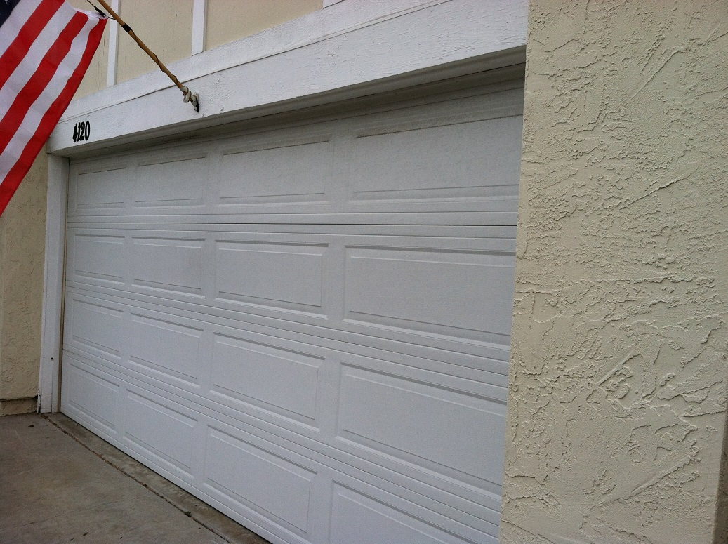 closed white garage door