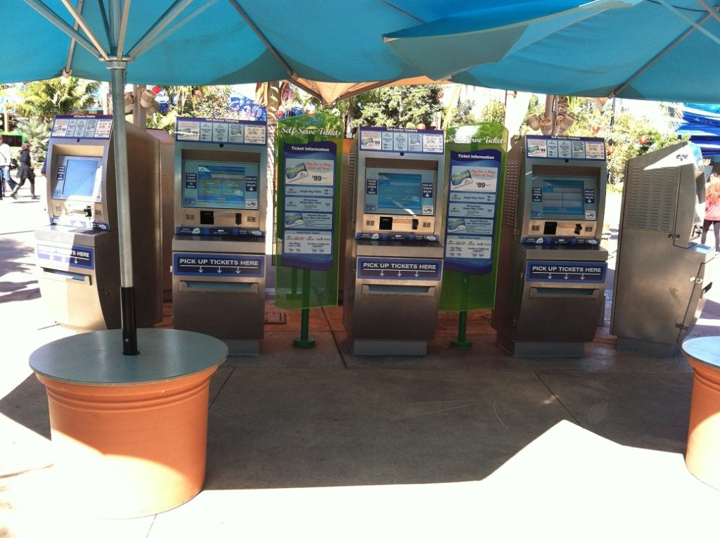 kiosks used for selling tickets at Sea World