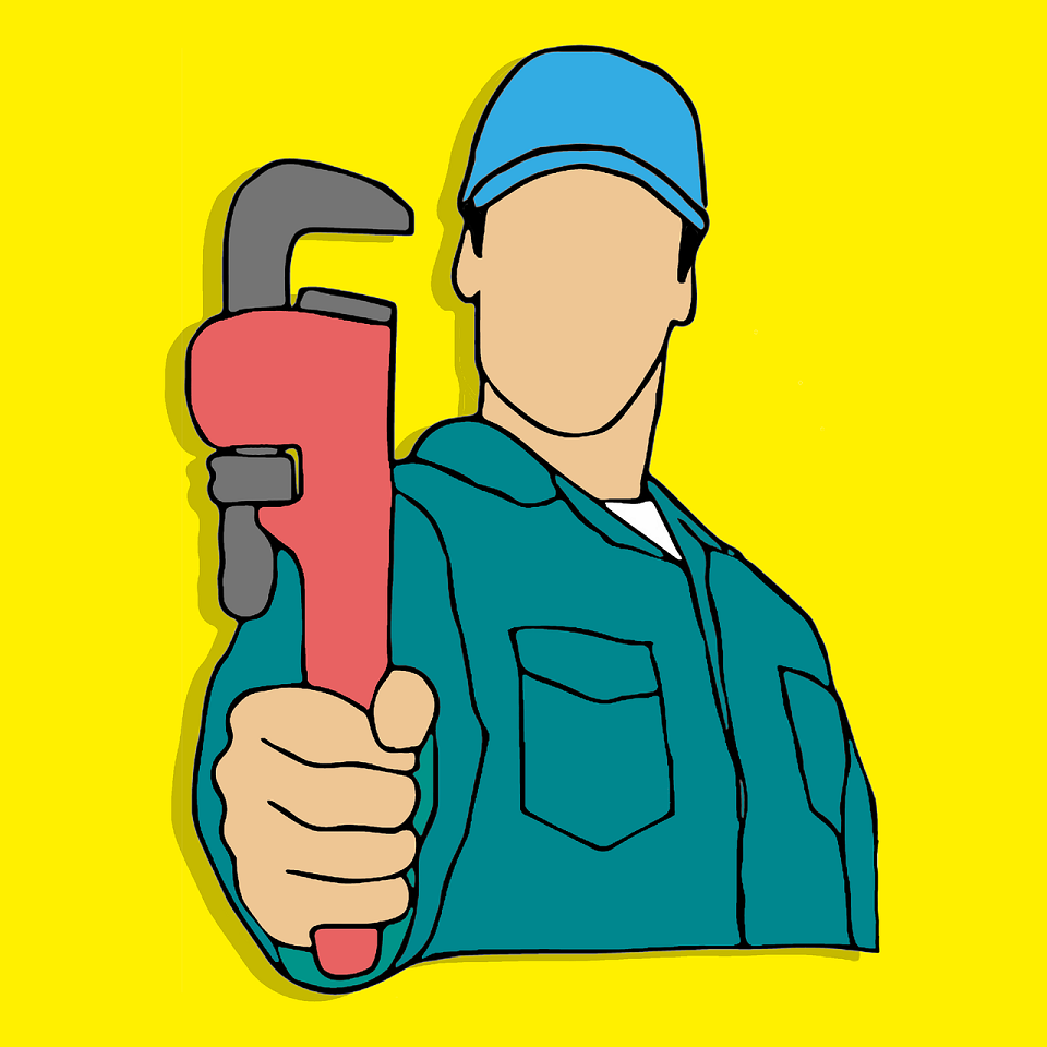 drawing of a plumber holding a wrench