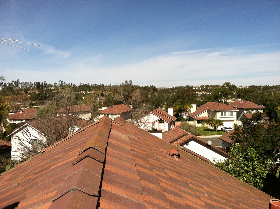 tille roof image showing neighborhood below