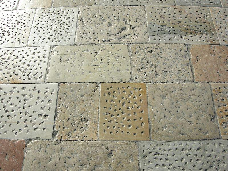 set tiles of marble floor