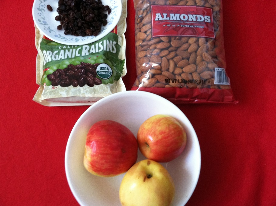 apples, almonds and raisins improves digestion.