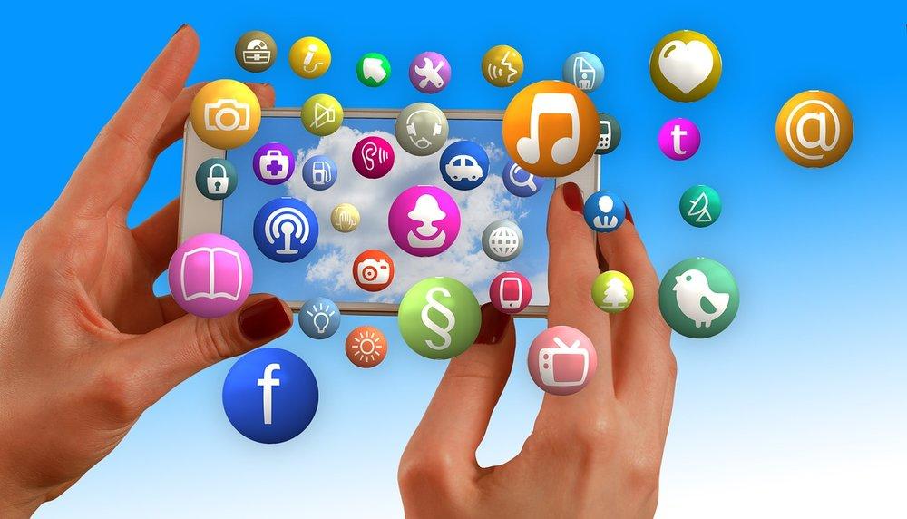 dozens of social media logos and phone