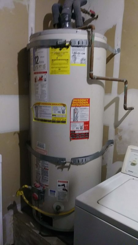 water heater and all its fittings installed