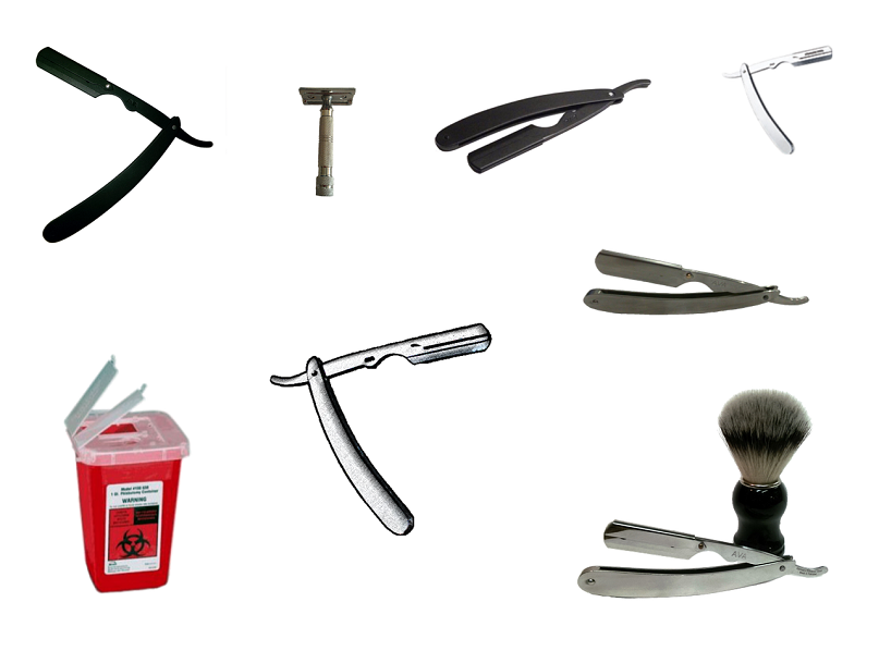 different straight razors and accessories
